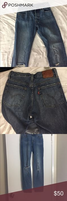 Levi's 501!!!! These are the best jeans ever. Just really need to clear some closet space '! Make your butt look great haha. Cute distressing and only worn a few times. Let me know if you would like to see a try on! they stretch a tiny bit after wearing for a few hours. so don't be startled by the small waist. Levi's Jeans Boyfriend
