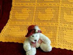 Crocheted Baby Blanket with Yellow Ducks