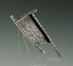 JenLawlerDesigns - Sterling Silver Blackened Textured Brooch One of a Kind #etsymetalteam