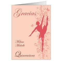 Ballerina Quinceanera Thank You Note Card