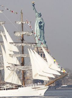 Statue of Liberty and A Tall Ship
