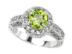 Original Star K(tm) Genuine 7mm Round Peridot Engagement Ring in Sterling Silver Size 7 .925
