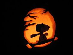 Red Barron snoopy carved on pumpkin art