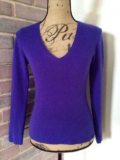 Ann Taylor Cashmere Purple Women's V Neck Sweater Size XS Long Sleeve | eBay