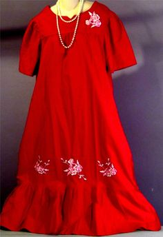 NWOT - Vintage 1960s Boho India Cherry Red Embroidered Rose Hippie  Dress - L #BLAIR