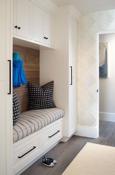 Mudroom Lockers and bench. The mudroom cabinet features a built-in bench with custom cushion and shiplap. All White Mudroom Cabinet. One wall Mudroom Lockers and bench. Mudroom Storage Bench, Bench With Storage, Wall Storage, Built In Storage, Closet Storage, Storage Benches, Garage Storage, Mudroom Benches, Entryway Storage