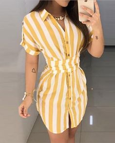 Womens Striped Printed Shirt Dress – bodyconest For a casual look, this shirt dress is often an ideal choice for women, Dress Shirts For Women, Clothes For Women, Moda Feminina Plus Size, Womens Fashion Online, Pattern Fashion, Trendy Outfits, Casual Shirts, Ruffles, Casual Dresses