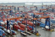 The huge amount of containers at the port of Rotterdam.