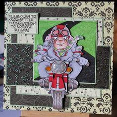 """Beryl the Biker"" digi stamp http://www.doctor-digi.com/beryl-the-biker Card by Ruth H http://weirdcatcardsnstuff.blogspot.co.uk/"