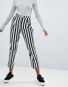 Monki Stripe Cropped Slim Trousers