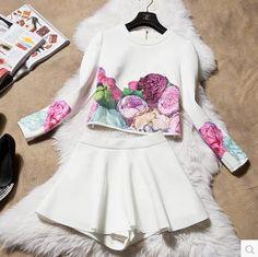 הפרחים זמש של 2016 סתיו חורף נשים מעיל ארוך שרוולים + חצאית חליפות סטים של נשים מזדמן אביב 2 piece סטי נקבה
