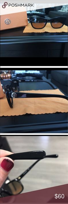 Tory burch sunglasses I just purchased these here. I tried them on and unfortunately not my style! No scratches on frames, small scratches on earpieces barely noticeable. Good condition. Does not come with cleaning cloth! Tory Burch Accessories Glasses