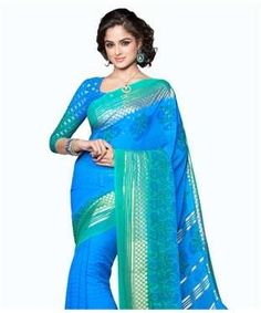 Georgette Saree with Blosue | I found an amazing deal at fashionandyou.com and I bet you'll love it too. Check it out!