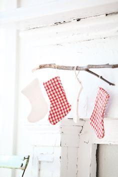 Petite Antique French Plaid Christmas Stockings