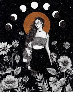 """ Mãe Natureza "" Illustration by LtG. Art And Illustration, Black And White Illustration, Watercolor Illustration, Kunst Inspo, Art Inspo, Psychedelic Art, Fantasy Kunst, Fantasy Art, Moon Art"