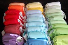 Rainbow stash of cloth diapers!