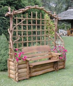 Log inspired garden seat with trellis in back.  Love it!