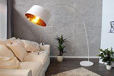Design Bogenleuchte FORMA 205cm weiß gold Bogenlampe mit Marmorfuß Stehleuchte