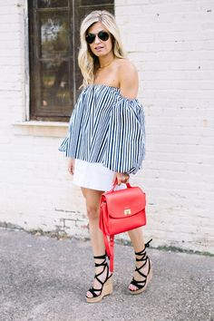 stripe off the shoulder top - chicwish off the shoulder top - brooke burnett - 4th of july outfit - dallas fashion blog