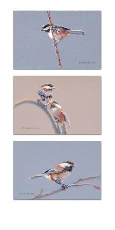 """""""Chickadee Triptych #1"""" by John Ursillo Colored Pencil ~ 20"""" x 10"""""""