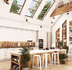 Gorgeous modern rustic kitchen with skylight. This kitchen design is a unique one and filled with vibrant plants. We're loving the vaulted ceiling and exposed beams. Interior Modern, Interior Design Minimalist, Interior Exterior, Home Interior, Kitchen Interior, Design Interior, Interior Ideas, Farmhouse Style Kitchen, Modern Farmhouse Kitchens