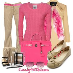 """pink and tan"" by candy420kisses on Polyvore"
