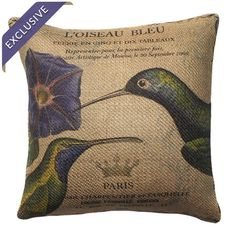 Burlap pillow with a bird motif and typographic details. Handmade in the USA.    Product: PillowConstruction Material: