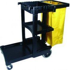 Carro de limpieza con bolsa amarilla de vinilo y tres bandejas distribuidas verticalmente para colocar los productos de limpieza, productos químicos o transportar papel. Fabricado en espuma estructural. Ruedas anti-huellas.