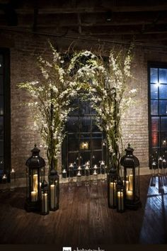 indoor wedding ceremony 30 Winter Wedding Arches And Altars To Get Inspired: Indoor branches and flowers arch with lots of candle lanterns Wedding Ceremony Ideas, Winter Wedding Arch, Wedding Altars, Wedding Lanterns, Candle Lanterns, Ceremony Decorations, White Lanterns, Wedding Church, Candlelight Wedding