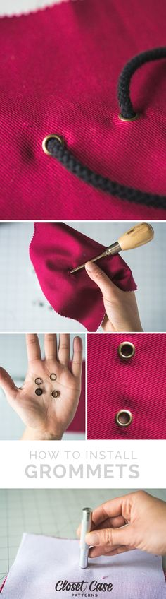 An easy tutorial for installing grommets at home! http://closetcasefiles.com/install-metal-grommets/