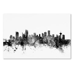 "Trademark Art ""Vancouver Canada Skyline B&W"" by Michael Tompsett Graphic Art on Wrapped Canvas Size:"