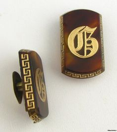Vintage Tortoise Shell Initial G Cuff Buttons  by WilsonBrothers