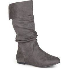 Brinley Co. Women's Wide Calf Microsuede Slouch Boots, Size: 9.5, Gray