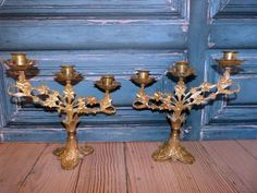 Antique French bronze standing candle stick holders candelabras candle holders candlestick RARE Chateau religious church altar candleholders by MyFrenchAntiqueShop on Etsy