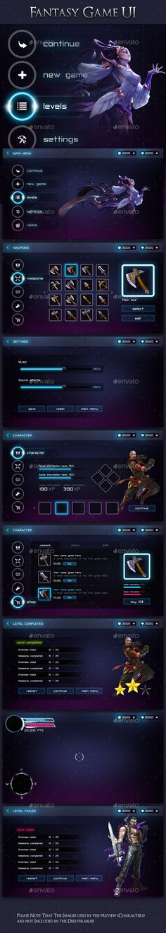 Modern Fantasy Game UI Kit - User Interfaces Game Assets