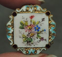 Enamel Brass Button Floral Design Metal | eBay