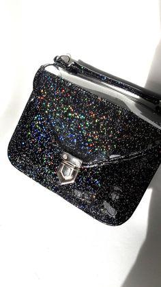 Mady Small Black Multicolor Glitter Vinyl Crossbody Bag (Ready to Ship) 071cf1dc9919