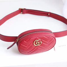 163c3ed9348 Gucci GG Marmont Matelasse Leather Belt Bag Red 476434 Louis Vuitton Hat