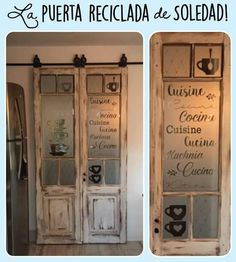 Puerta reciclada Interior Design Living Room, Living Room Designs, Shabby Chic Shops, Farm Door, Diy Sliding Barn Door, Old Windows, Old Doors, Recycled Furniture, Farmhouse Decor