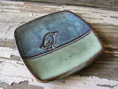 Vogel Spoon Rest - Prep-dish - Tapas - Steinzeug - Keramik - Seifenschale - Dessert Plate - bereit-zu-Schiff