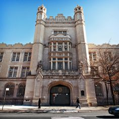 entrance tower, Erasmus Hall High School (1906), 911 Flatbush Avenue, Flatbush, Brooklyn, New York