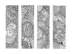 Bookmarks, : Indonesian Batik Bookmarks Coloring Pages