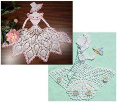 PS035 Ladies of Lace Crochet Pattern Crochet Pattern. Vintage doilies have a special look and feel that you can't find in the store bought versions. The Ladies of Lace Pattern is a design you can make to display on a table, in a vintage frame or applique onto linens or a quilt. This crochet doily pattern includes two delicate designs; Girl with Bird and Pineapple Crinoline Lady.