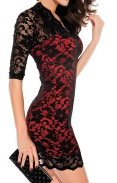 V-neck Three Quarter Sleeves Figure-hugging Lace Party Dress