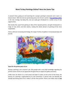 Want to buy paintings online here are some tips