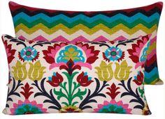 Pillows •~• blue, gold, green, pink, & red