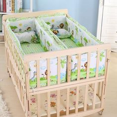 Multifunction Baby Cot Twin Baby Crib Solid Wood Baby Cradle Rolling Baby Playpen Crib for Newborn Can Be Learning Desk Twin Baby Beds, Baby Cribs For Twins, Twin Baby Rooms, Baby Bedroom, Twin Babies, Baby Room Decor, Small Twin Nursery, Nursery Twins, Child Room