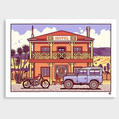 Wasted Days and Wasted Nights Art Print by Ross Murray NZ Art Prints, Art Framing Design Prints, Posters & NZ Design Gifts Vintage Art Prints, Vintage Colors, Craft Beer Labels, Tourism Poster, Nz Art, Vintage Travel, Travel Style, Night, Day