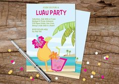 Give your next luau's guests a preview of the atmosphere: laidback, fun, and beachy! | Sold on the Julie Bluet Etsy