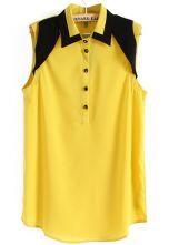 Yellow and Black Sleeveless Lapel Chiffon Blouse $24.03